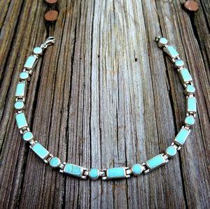 Vintage 925 Natural Turquoise Inlay Link Bracelet